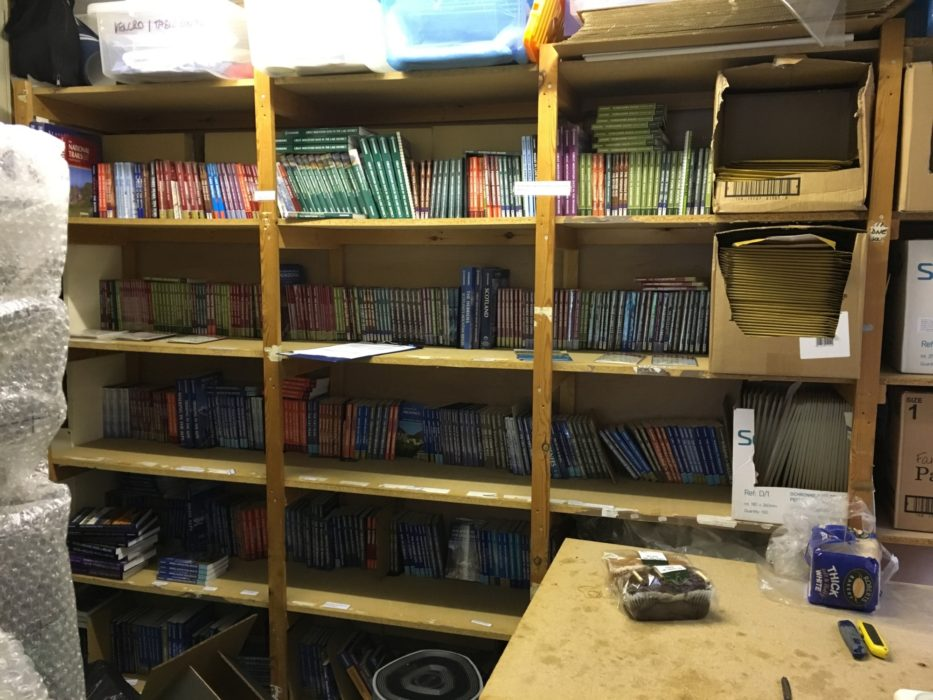 Some of the old shelving seen here has made the move with us.
