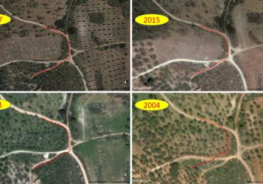 A marked track junction on 2017 Google Earth imaging shows location difference when compared to historical imaging which shows up to 15m variation in this example in Spain