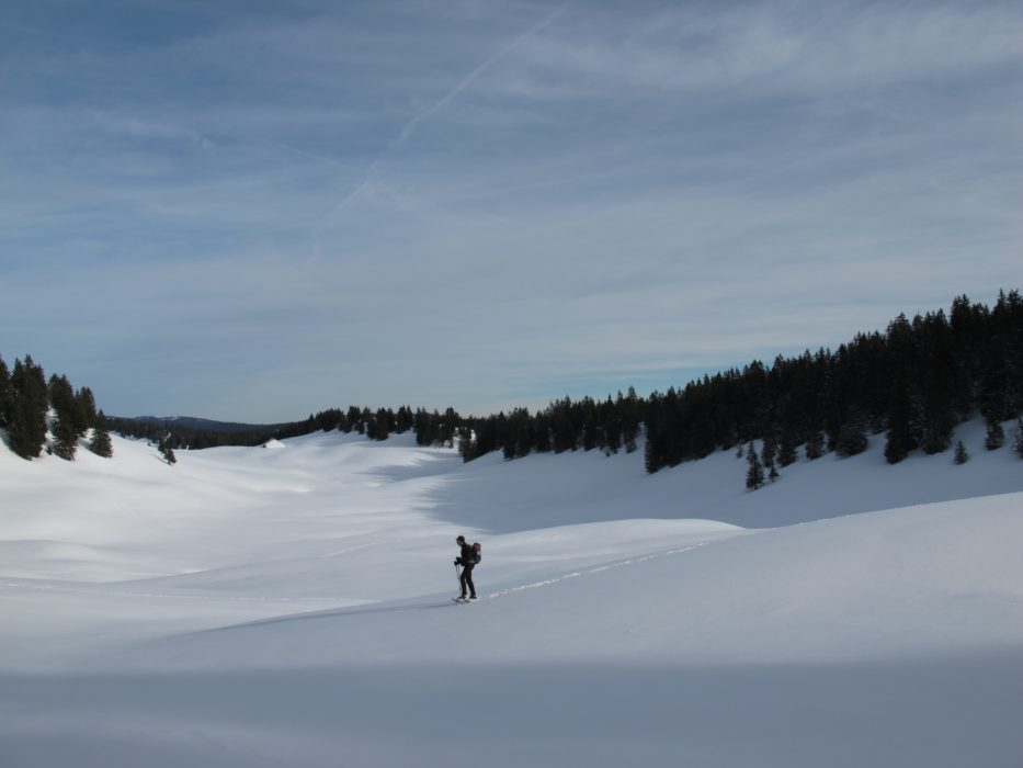 Les Rousses. Route sharing sites are great for finding snowshoeing tracks which do not always follow the marked summer paths