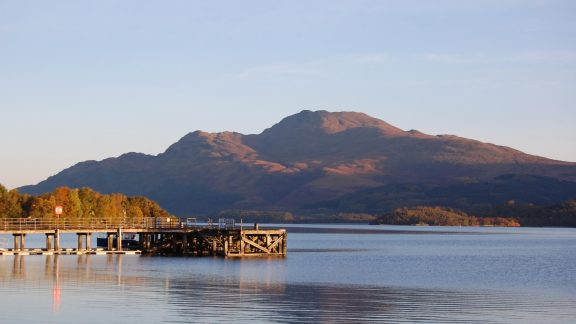 Ben Lomond Above Luss Pier At Sunrise With Item 3 Bonnie Banks Along The Base Of The Hill