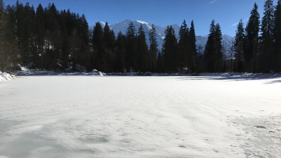 Frozen Surface Of Lac Vert With Mont Blanc Behind