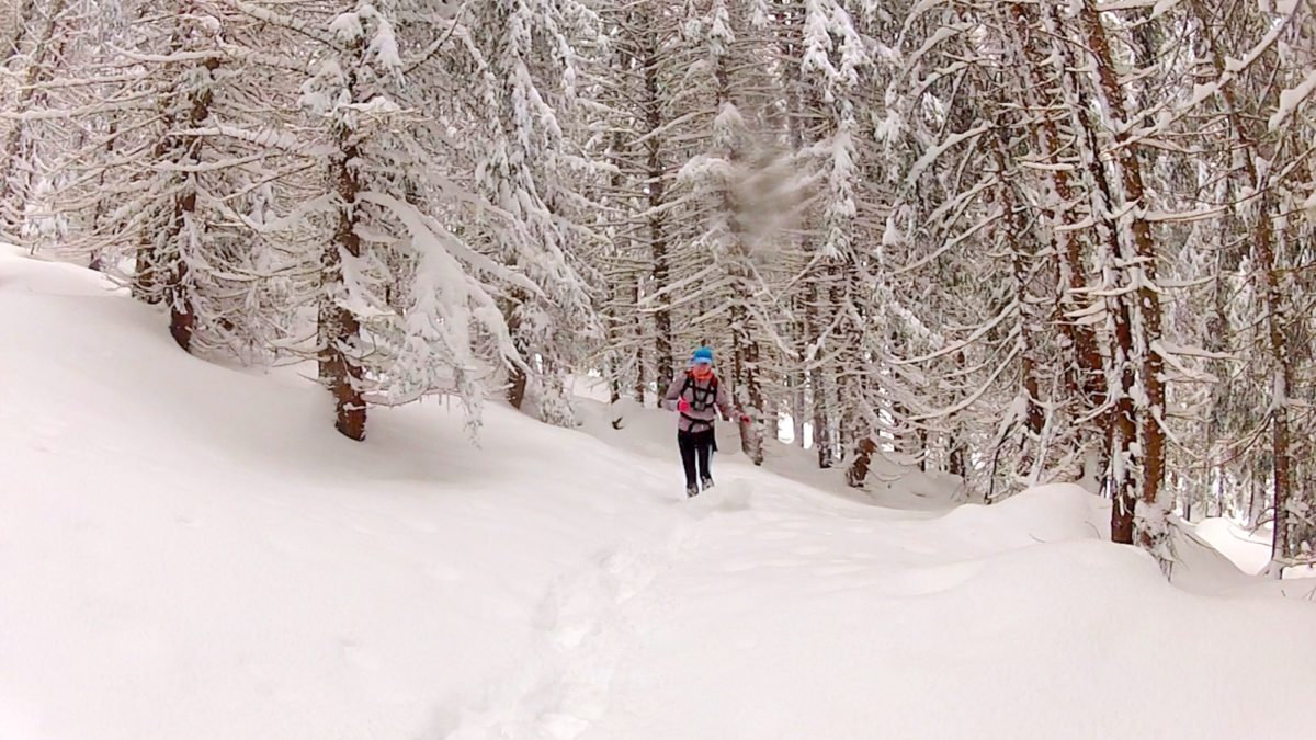 Running In Deep Powder Near Les Granges