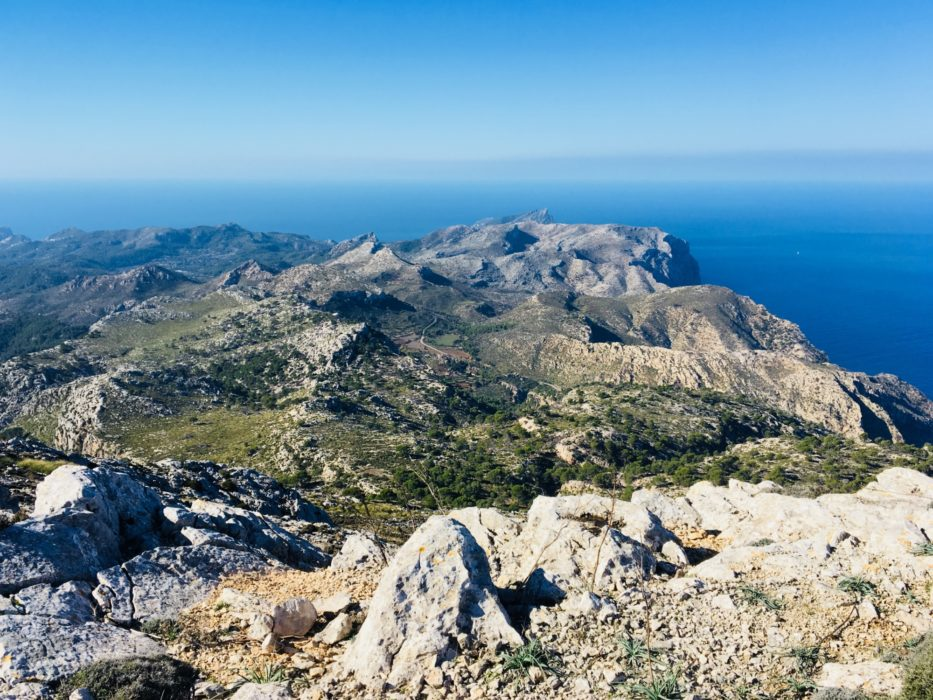 The southernmost part of Serra de Tramuntana seen from the 928m summit of Mola de s'Esclop. day two. The summit is slightly of route, but can easily be climbed on a 30min detour. The views from the summit are spectacular.