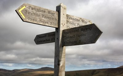 12 A Signpost Marks The Point At Which Clennell Street Crosses The Border Ridge Into Scotland