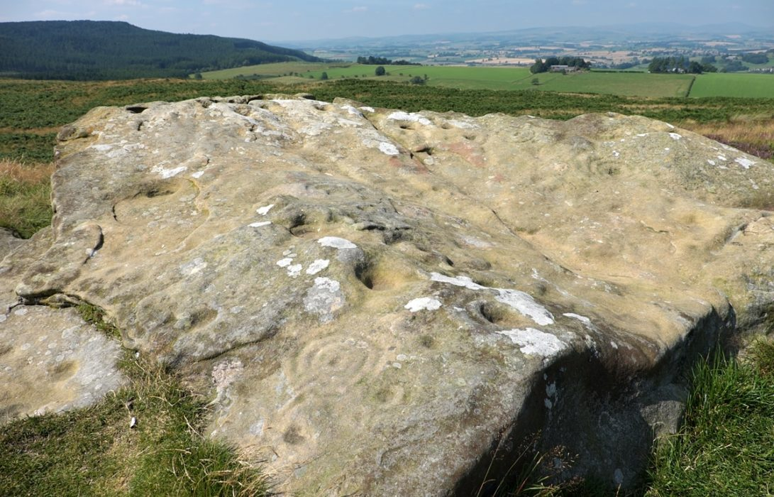 4 Prehistoric Markings On A Boulder At Lordenshaw
