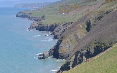 The rugged coast north of Llanrhystud