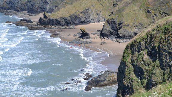 The rock stack of Carreg Bica at Llangrannog can be visited at low tide