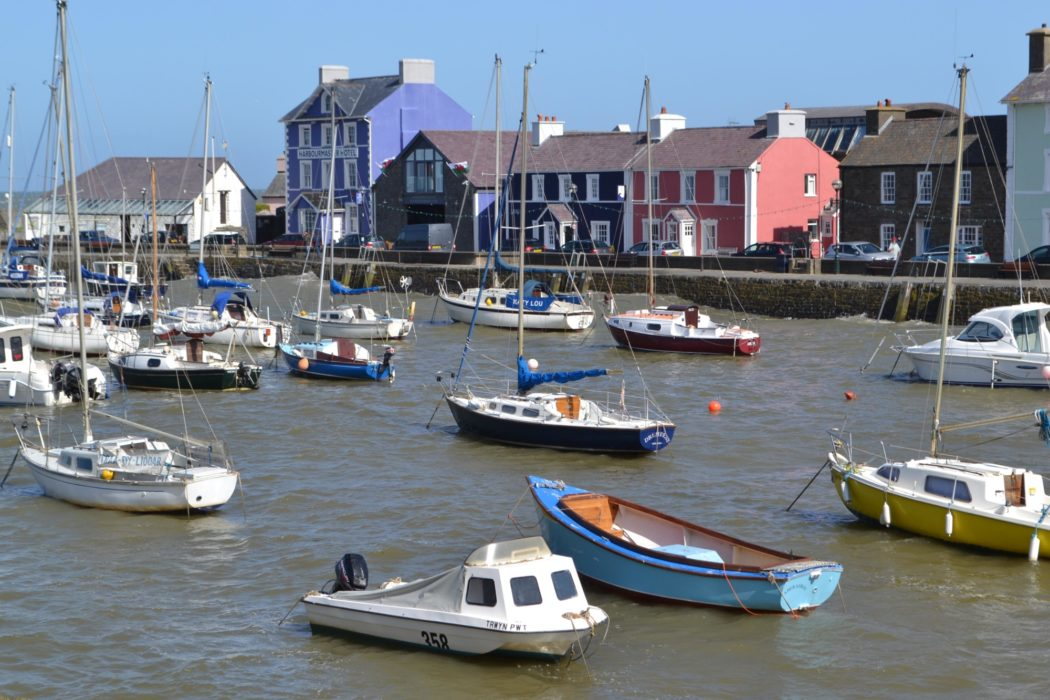 The colourful buildings and boats at Aberaeron