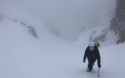 Caroline nearing the top of the gully