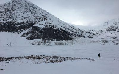 Testing the ice of Loch a'Mhadaidh