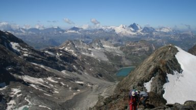 13 Climbers From France Approaching Becca Della Traversiere