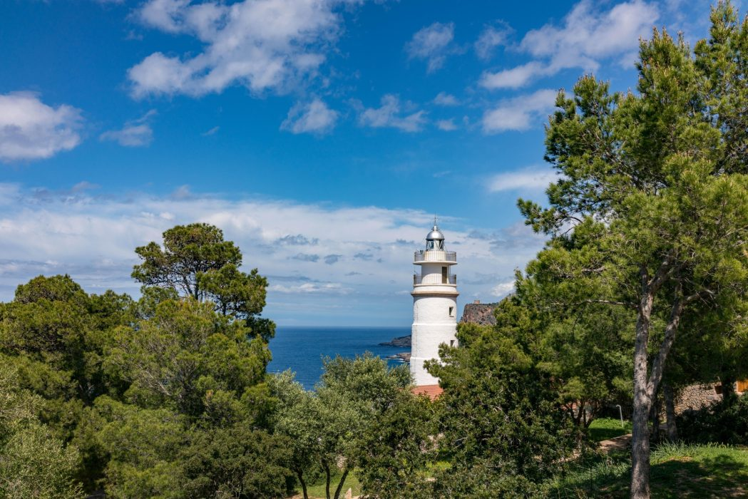 The Lighthouse At Cap Gros Next To The Refuge De Muleta. Mallorca's Refuges And Friendly And Welcoming