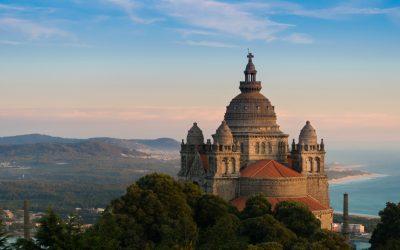 Coastal Camino: View Of The Basilica De Santa Luzia At Sunset From The Pousada In Viana Do, Castelo