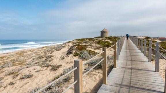 Coastal Camino: Boardwalk Pilgrims And A Muino Windmill Between Povoa De Varzim And Agucadoura