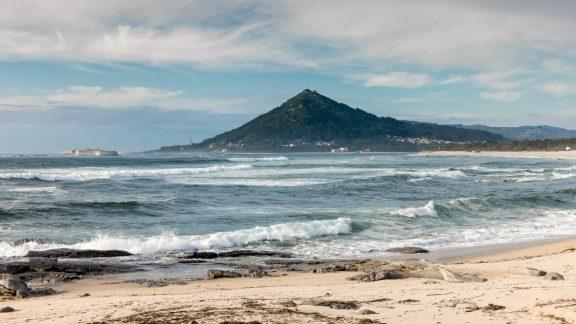 Coastal Camino: View Of Mt Santa Tecla In Spain From Caminha