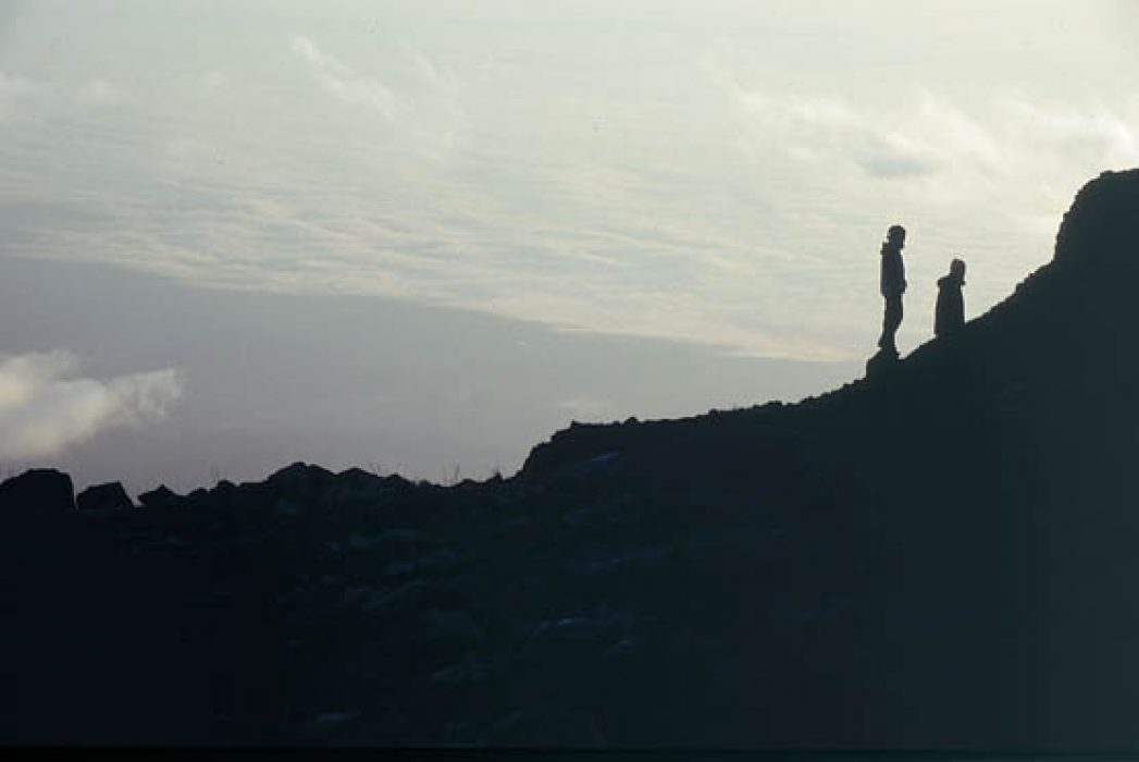 009 Silhouetted Figures On Mawenzi Ridge Watching The Sunrise Rongai Route Mawenzi Tarn Hut To Kibo