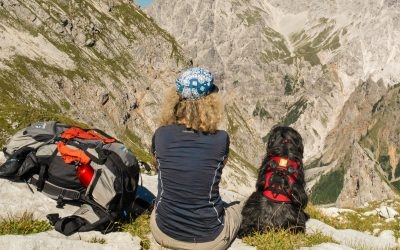 Sabine and Khampa enjoy the view before descending to Wimbachgries Hut