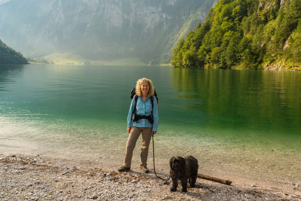 On the shores of Königssee at the start of the walk