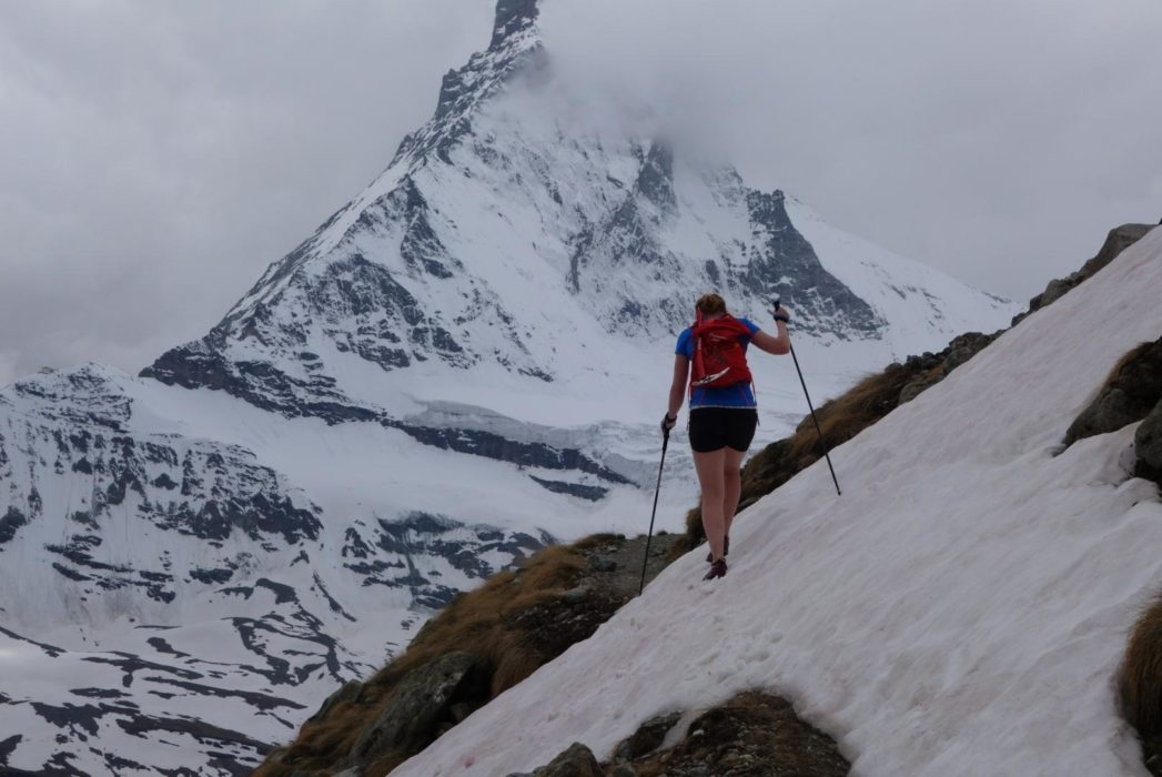 Crossing the snow patches at around 2600m with the Matterhorn behind