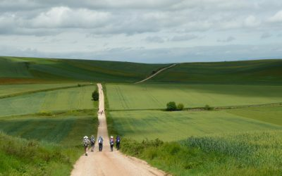 Ciruena: One of the most photographed spots on the Camino de Santiago. Suddenly a valley appears, and the way can be seen stretching into the distance. (Camino Frances of the Camino de Santiago)