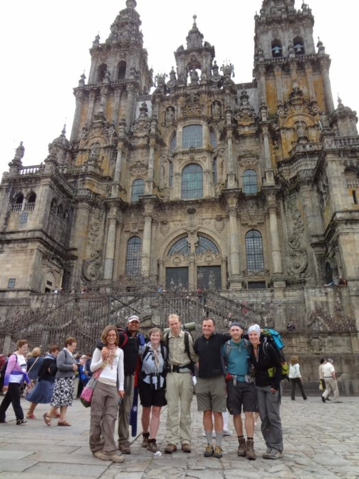 A portion of our 2011 Camino Family as we arrive outside the Cathedral de Santiago de Compostela. (Camino Frances of the Camino de Santiago)