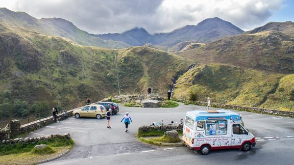 Enjoying that well-earned ice cream at the viewpoint above Nant Gwynant