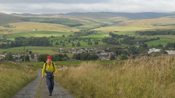 Leaving Sanquhar at the start of Stage 7
