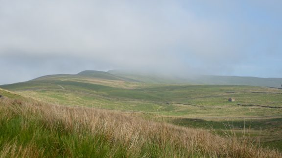 Early morning cloud on Gt Shunner Fell, lifting as we climbed to provide another beautiful day. (Day 2 - day 9 in the guide).
