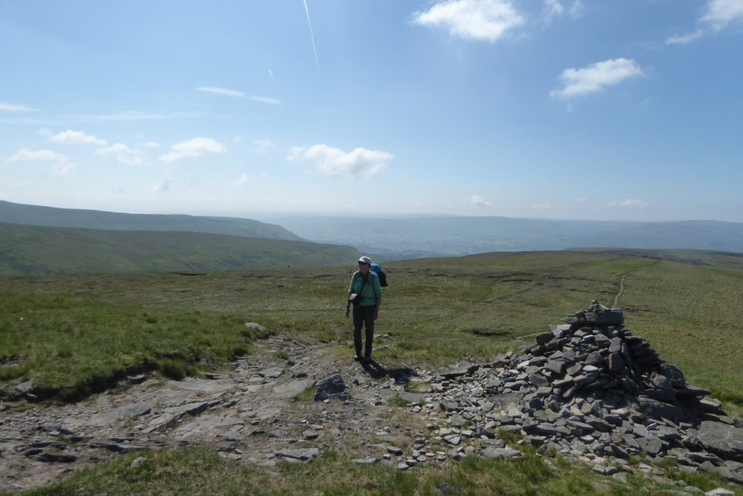 Nearing the lonely summit of Gt Shunner Fell mid morning (Day 2 - day 9 in the guide).