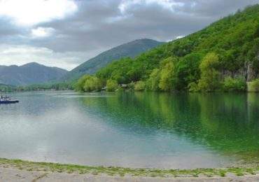 The beautiful Lake Scanno nestled in the Valle del Saggitario