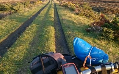 Riding home on the Dava Way, bike set up with GPS to record the route
