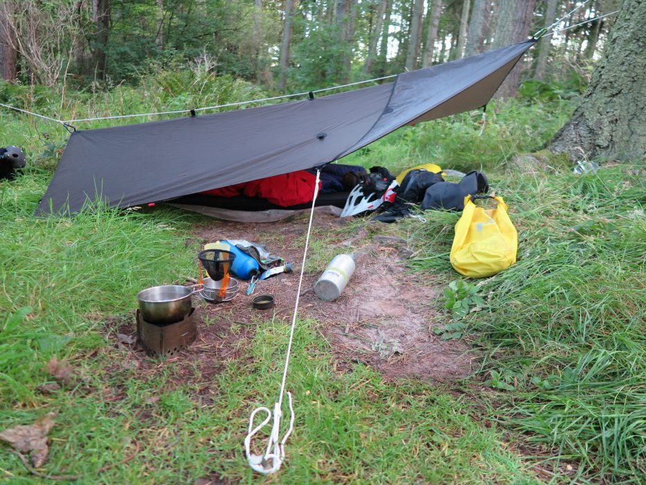 Lightweight tarp, cooking and sleeping arrangement on the Moray Trail