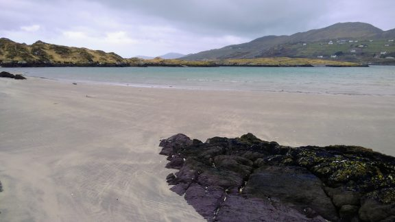 The beach separating Abbey Island from the mainland