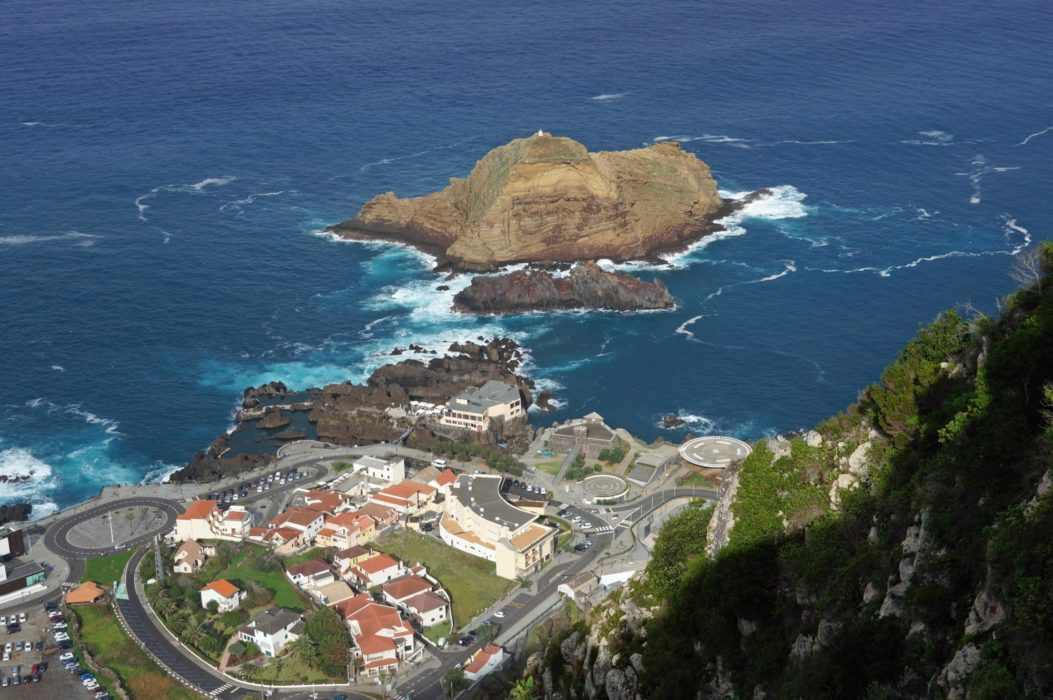 Looking down on the little town of Porto Moniz in north-east Madeira