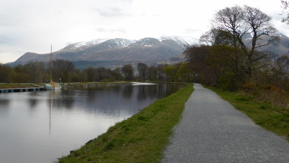 Quiet canal towpath near Fort William