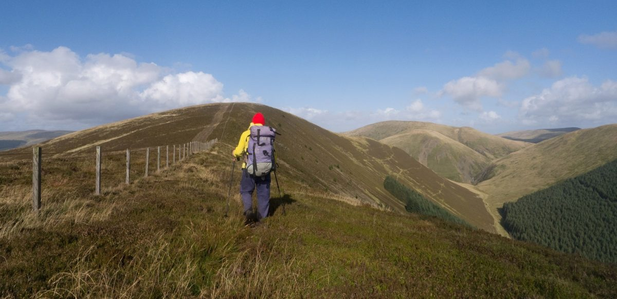 Taking the high route on the Ettrick Hills.