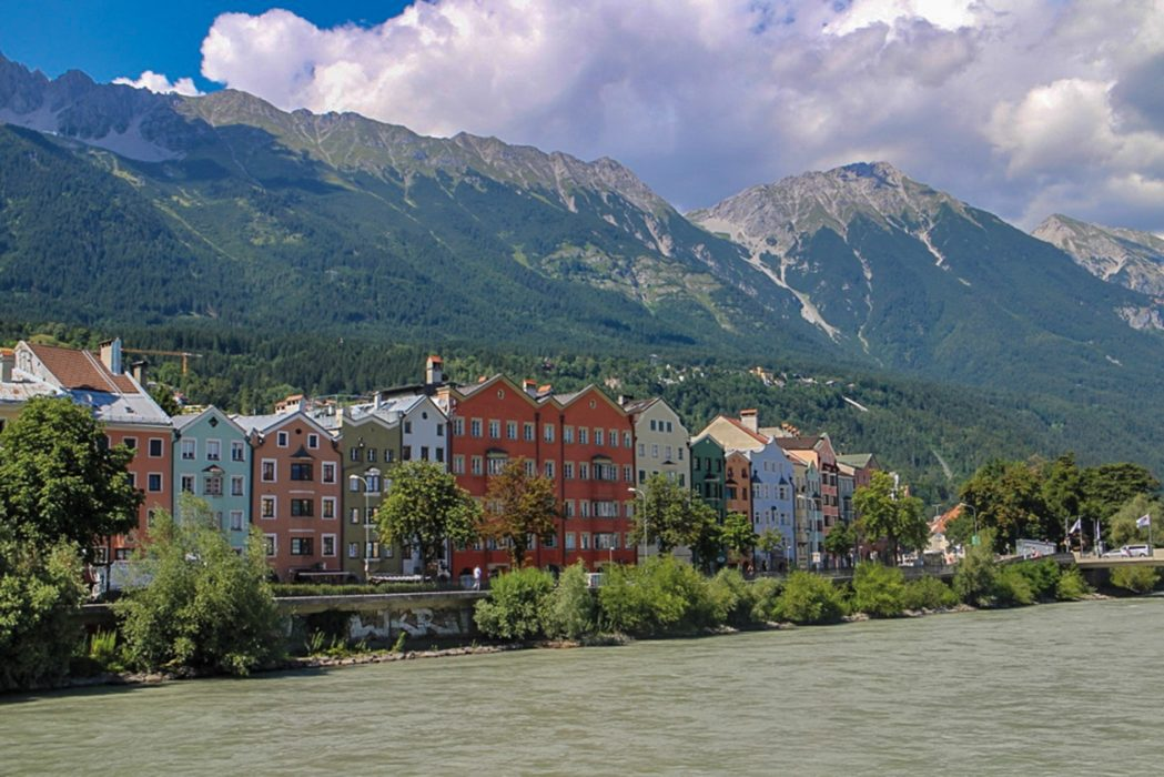 Innsbruck's trademark colourful houses on the north side of the River Inn