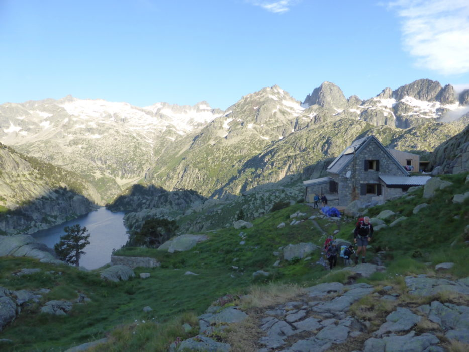 Early morning at the Refugio Ventosa i Calvell as we walkers leave the refuge