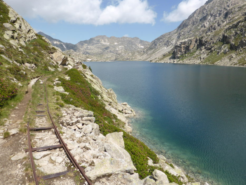 Following old railway tracks on the way to Refugio de Colomina
