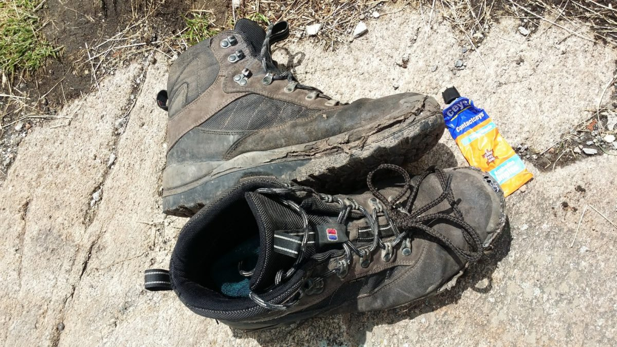 Running repairs, James' boots after three days