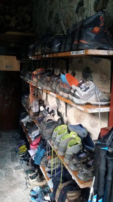 Walkers' boots at Refugio del Estany Llong