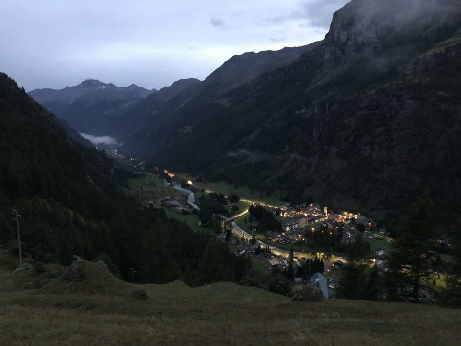 Looking back to Gressoney, the race's half way point as I head into the night. It's always an exciting moment