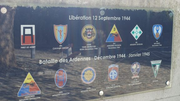 Plaque honouring American army units that fought at Stavelot