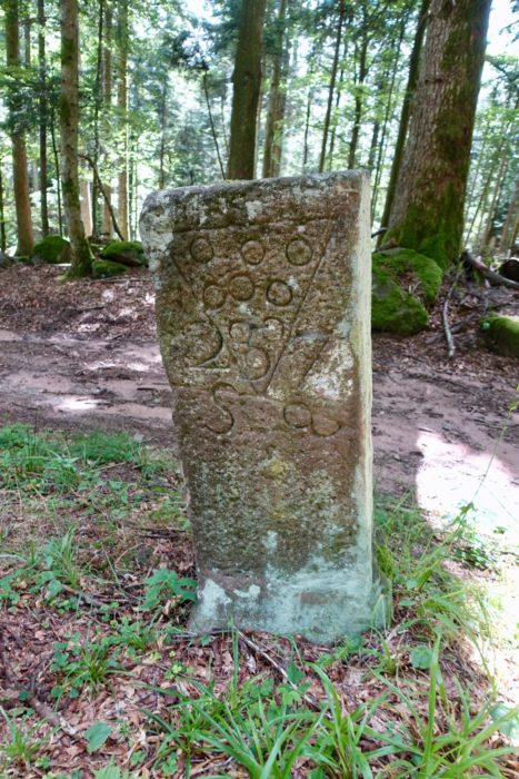 Roman milestone (borne) in Vosges mountains
