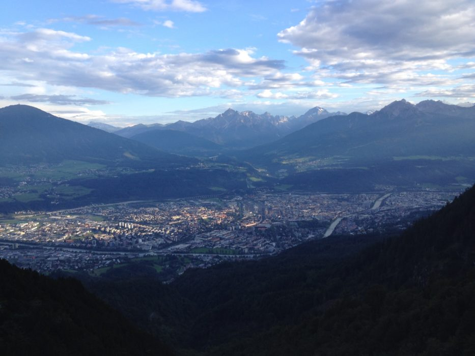 A view south to the Stubai Alps from the slopes of the Nordkette