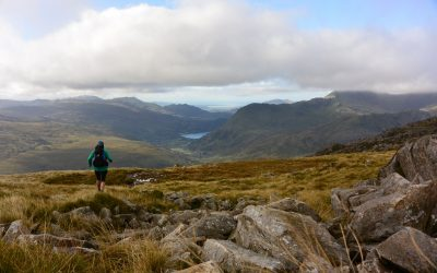 Descending from the Glyders with Snowdon hiding in the clouds. Fastpacking in Snowdonia.