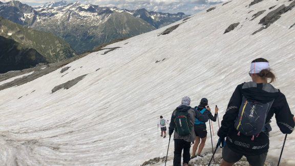 Snowy descent from Col del Turlo, Tour de Monte Rosa (Photo by Chris Councell)