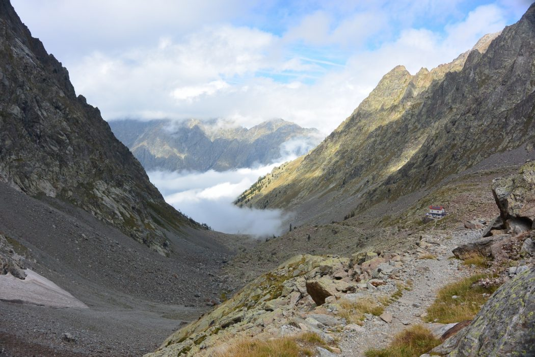 Mountain huts are usually in spectacular locations. (Rifugio Morelli - Buzzi, Italy)