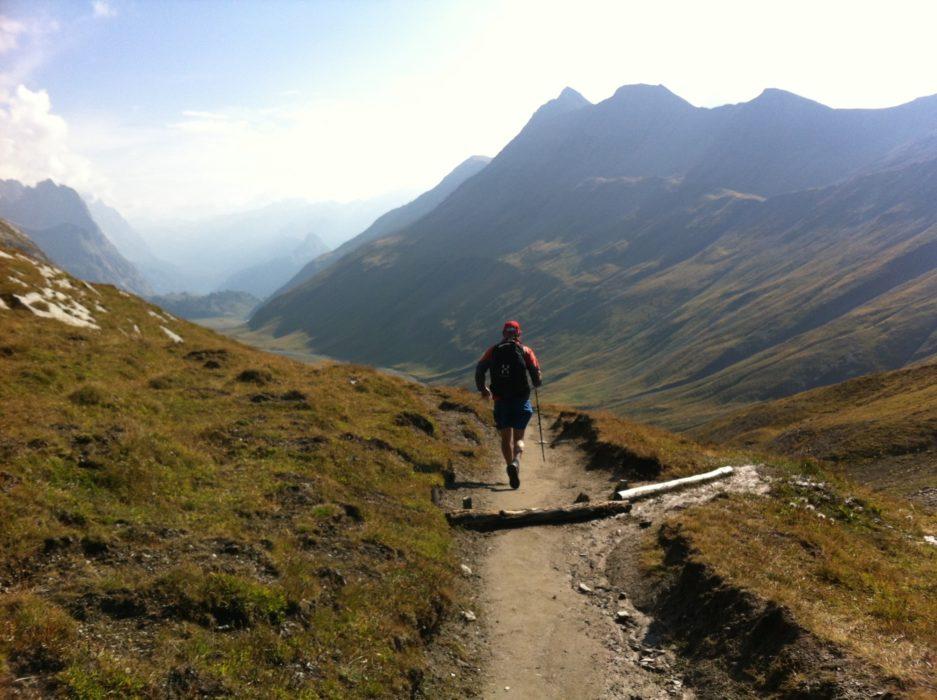 Fantastic running on the descent from Col de la Seigne. Tour du Mont Blanc, France.