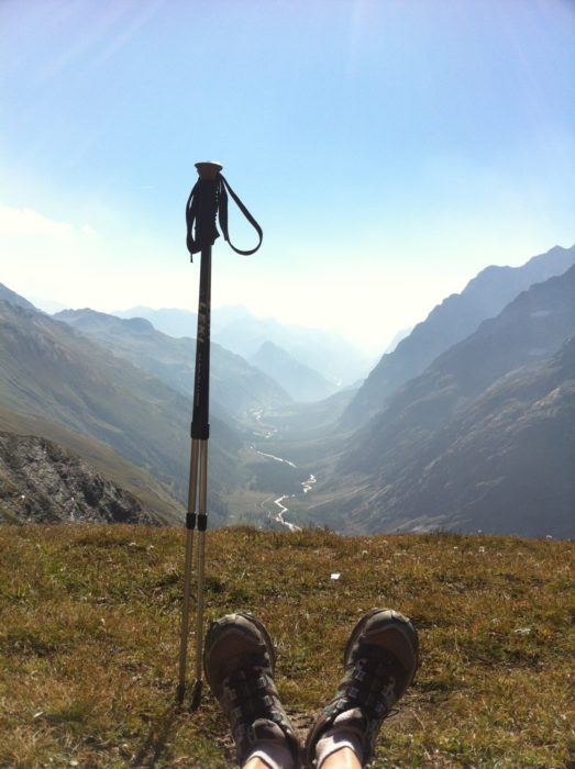 On a multi-day running trip you need good cushioning in your shoes (Grand Col Ferret, Tour du Mont Blanc)